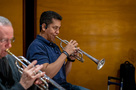 Trumpet players Barry Perkins (center) and Jon Lewis
