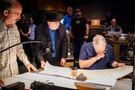 Music editor Joe E. Rand, and composer Randy Newman make edits to a cue