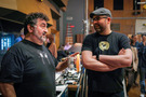 Cellist Armen Ksajikian talks with director Josh Cooley