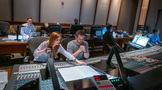 The <em>Treadstone</em> music team in the control room at Warner Bros.