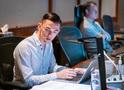 Scoring assistant Caleb Hsu