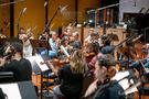 The viola section performing on <em>Treadstone</em>