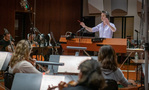 Jeff Russo conducts the strings on <em>Treadstone</em>