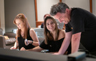 Orchestrator Amie Doherty, additional music composer Perrine Virgile, and scoring mixer Michael Perfitt go over a cue