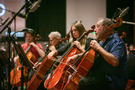 The cello section performs on <em>Onward</em>