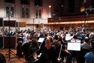 The orchestra performing at AIR Studios