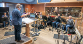 Conductor / orchestrator Pete Anthony records with the winds and brass at Pianella Studios
